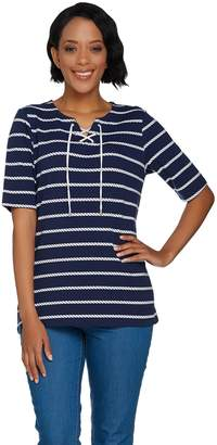 Denim & Co. Rope Stripe Printed Elbow Sleeve Lace Up Knit Top