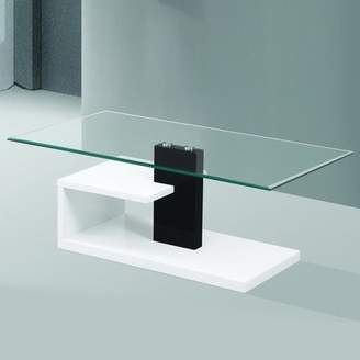 Fab Glass and Mirror Modern Tempered Glass Coffee Table with Black and White Glossy Stylish Base