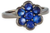 Bayco 18K Black Gold & Blue Sapphire Flower Ring