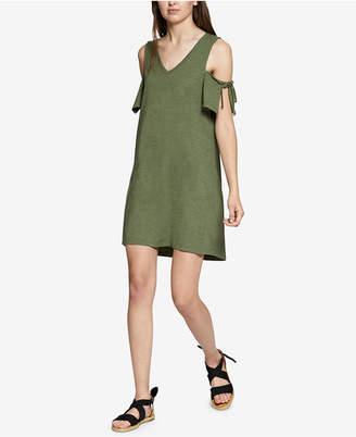 Sanctuary Lakeside Cotton Tie-Sleeve Cold-Shoulder Dress