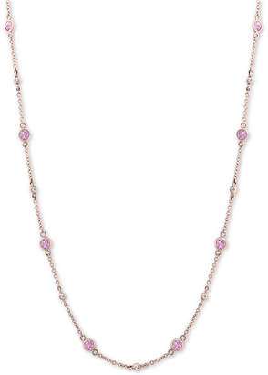 """Effy Pink Saphire (1-3/8 ct. t.w.) & Diamond (1/8 ct. t.w.) 18"""" Collar Necklace in 14k Rose Gold"""