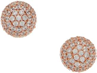 Diamonique Round 1.75 cttw Pave Studs, Sterling or 14K Clad