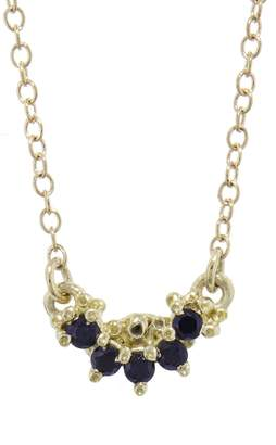 Ruta Reifen Black Spinel Curve Necklace - Yellow Gold