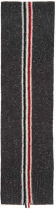 Thom Browne Grey Mohair Intarsia Stripe Scarf