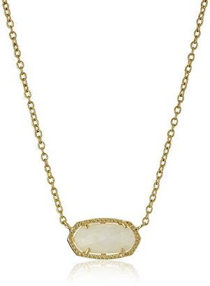 Kendra Scott Signature Elisa Gold Plated White Mother-Of-Pearl Pendant Necklace $50 thestylecure.com
