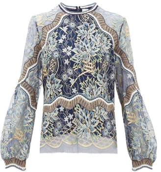 Peter Pilotto Long Sleeved Floral Lace Top - Womens - Navy Gold