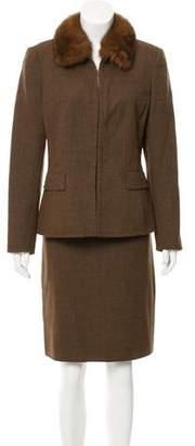 Akris Fur-Trimmed Wool Skirt Suit