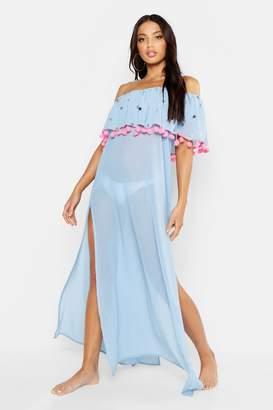 3a63e0b52f41f boohoo Sequin & Pom Pom Bardot Maxi Beach Dress