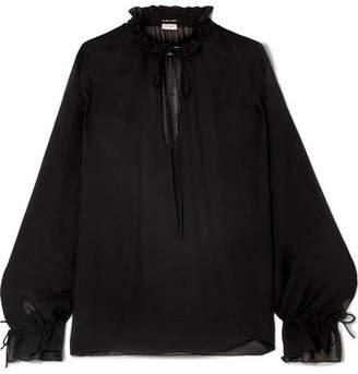 Saint Laurent Ruffled Georgette Blouse - Black