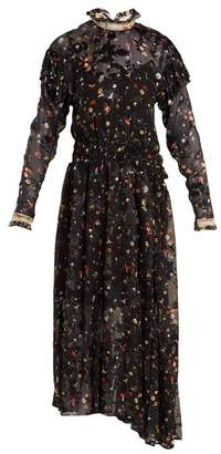 Preen by Thornton Bregazzi Olivia Truffle Print Silk Blend Devore Dress - Womens - Black Multi