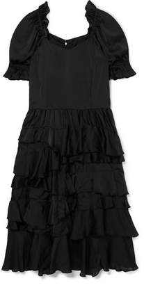 Comme des Garcons Ruffled Habotai Midi Dress - Black