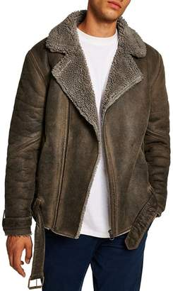 Topman Faux Shearling Trim Biker Jacket