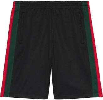 Gucci Technical jersey short with Web detail