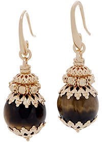 Italian Silver Beaded Gemstone Drop Earrings, 18KGold Plated