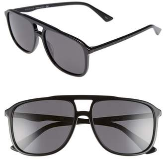 Gucci '80s Monocolor 58mm Aviator Sunglasses