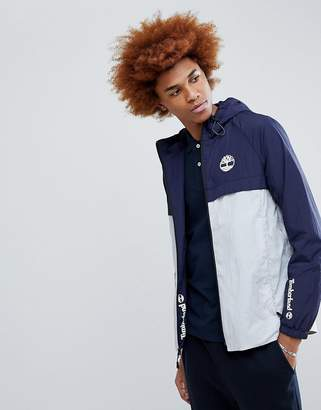 Timberland Lightweight 2 Tone Hooded Shell Jacket In Blue/Navy