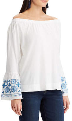 Chaps Petite Jersey Embroidered Off-The-Shoulder Top