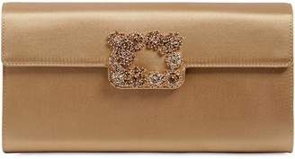Roger Vivier Flower Buckle Silk Envelope Clutch