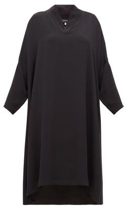 eskandar Silk Crepe V Neck Midi Dress - Womens - Black