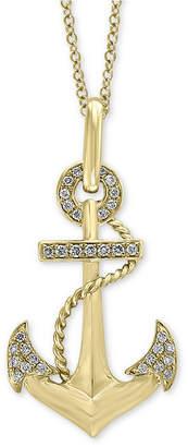"Effy Men Diamond Anchor 22"" Pendant Necklace (1/5 ct. t.w.) in 14k Gold"