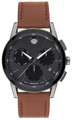 Movado Men's Museum Sport Chronograph Watch with Leather Strap