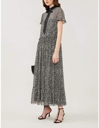 RED Valentino Leopard-print flared-skirt silk-crepe midi dress