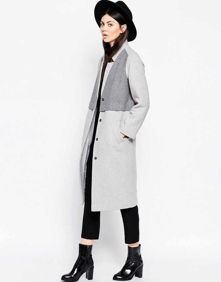 Asos ASOS Coat in Cocoon Fit with Panel Detail