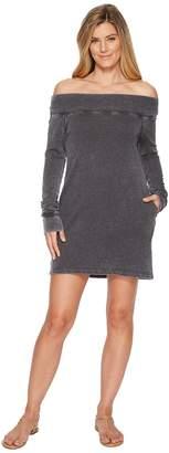 Allen Allen French Terry Long Sleeve Off the Shoulder Dress Women's Dress