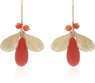 Annette Ferdinandsen Jeweled Bugs 14K Gold And Coral Drop Earrings