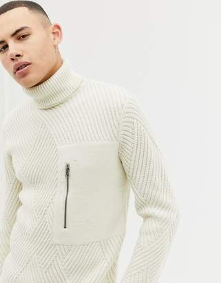 ONLY & SONS Roll Neck Cable Knit Sweater