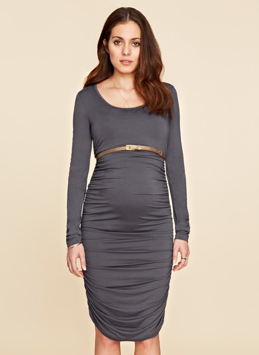 Ruched Midi Maternity Dress