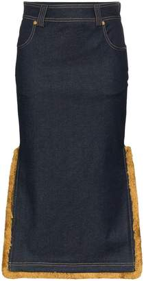 Versace High-Waisted Denim Midi-Skirt