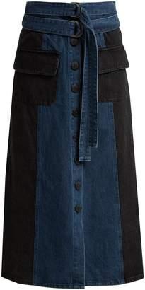 Sea Bleu two-tone denim midi skirt