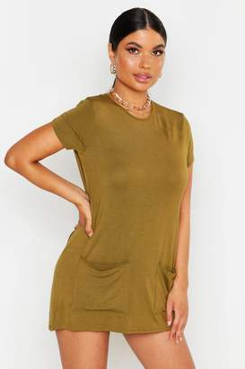 boohoo Petite Pocket Front T-Shirt Dress