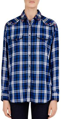 Gerard Darel Luana Embroidered Plaid Shirt
