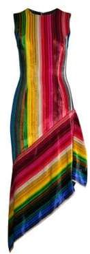 Milly Krista Rainbow Velvet Midi Dress