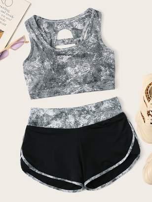 Shein Cut Out Back Sports Bra & Shorts Set