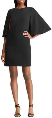 Lauren Ralph Lauren Crepe Cape Shift Dress