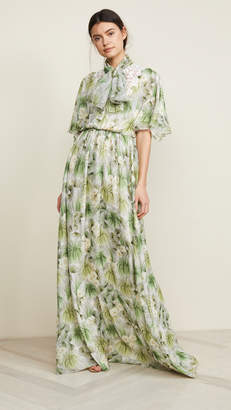 Giambattista Valli Collared Maxi Floral Dress