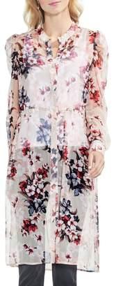 Vince Camuto Timeless Bloom Sheer Chiffon Shirt Tunic