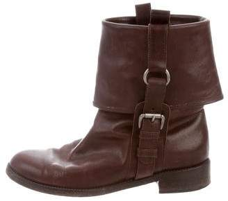 Marni Round-Toe Leather Ankle Boots