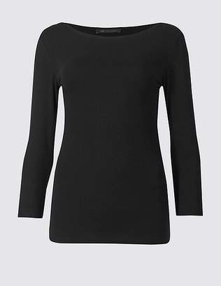 Marks and Spencer Cotton Stretch Slash Neck 3/4 Sleeve T-Shirt