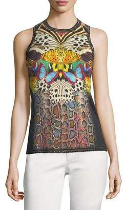 Roberto Cavalli Sleeveless Butterfly-Print Wool-Cashmere Knit Shell Top