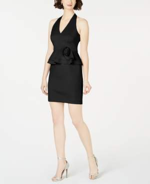 Jessica Howard Floral Ruffle Short Scuba Dress