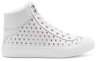 Jimmy Choo Argyle High Top Stud Embellished Leather Trainers - Mens - White