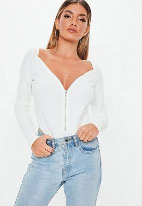 Missguided White Sweetheart Zip Up Bodysuit