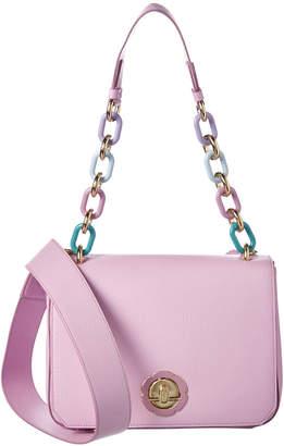 Salvatore Ferragamo Medium Flower Flap Leather Shoulder Bag