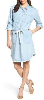 Caslon Drawstring Waist Shirtdress (Regular & Petite)