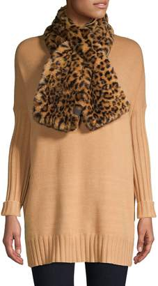 Calvin Klein Leopard-Print Faux Fur Scarf
