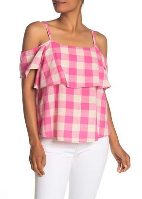 Bobeau Plaid Cold Shoulder Blouse